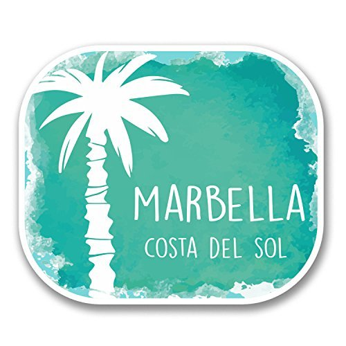 hiusan 2 x Marbella Malaga Spain Vinyl Stickers Decals Travel Luggage Tag Lables Car Window Laptop Ipad Envenlop Stickers(10cm W x 8.5cm H)