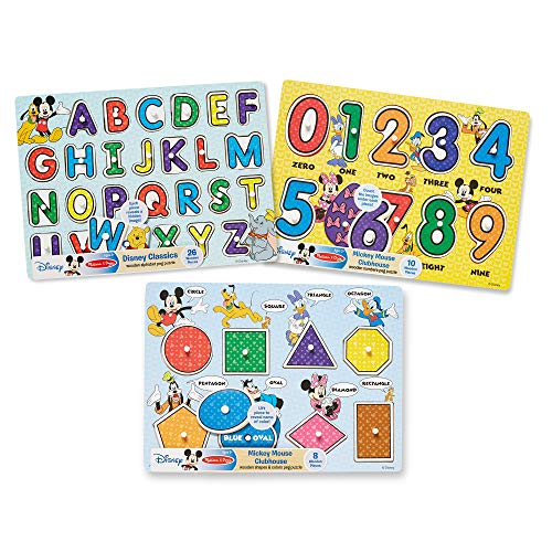 Melissa & Doug Disney Classics Alphabet Wooden Peg Puzzle (Colors and Shapes, numbers, Alphabet, Great Gift for Girls and Boys - Best for 3, 4, 5 Year Olds and Up)