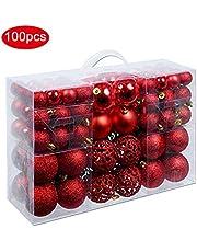 LaoZi Bola de Navidad de plástico Juego de Bolas Decorativas de Navidad Decoración de Navidad Bolas de árbol de Navidad exclusivas Set de 100 Piezas