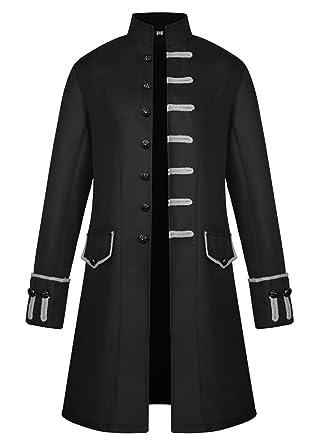 898163d80a63 Mens Velvet Vintage Tailcoat Jacket Goth Long Steampunk Formal Gothic  Victorian Frock Coat Halloween Costume (