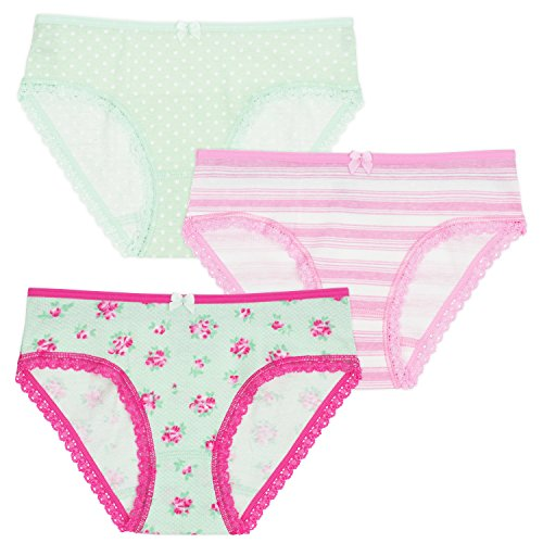 Lucky & Me Lily Girls Underwear, Organic Cotton Briefs, Rose Bouquet, 3-Pack, 9/10