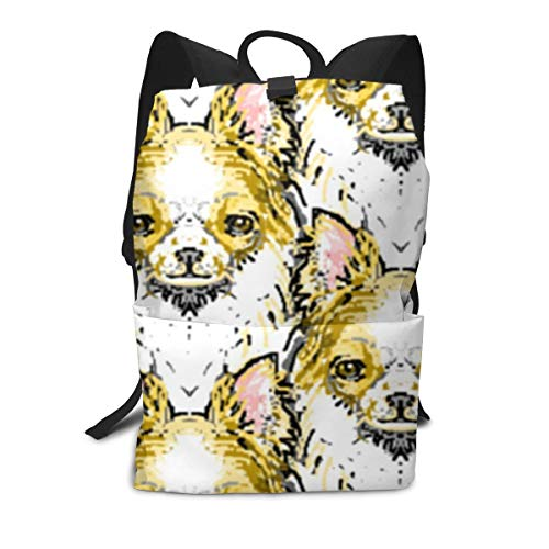 Long Haired Chihuahua Backpack Middle for Kids Teenagers School Travel Bag