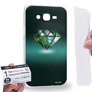Case88 [Samsung Galaxy J7] Gel TPU Carcasa/Funda & Tarjeta de garantía - Art Fashion Diamond Nebula Cyan Art0760