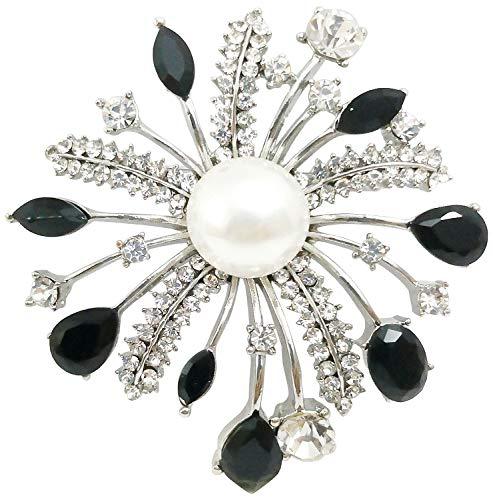 Bijoux De Ja Rhodium-Plated Rhinestone Crystal Women Broach Brooch Pin (Mom Flower)