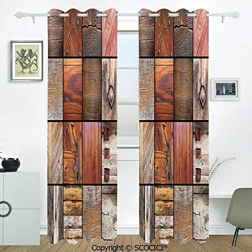 SCOCICI 2 Panel Set Digital Printed Blackout Window Curtains Thermal Insulated Collection of Different Wooden Architecture Elements Timber Door Key Materials Boho for Room Window Drapes(W54xL84 inch)