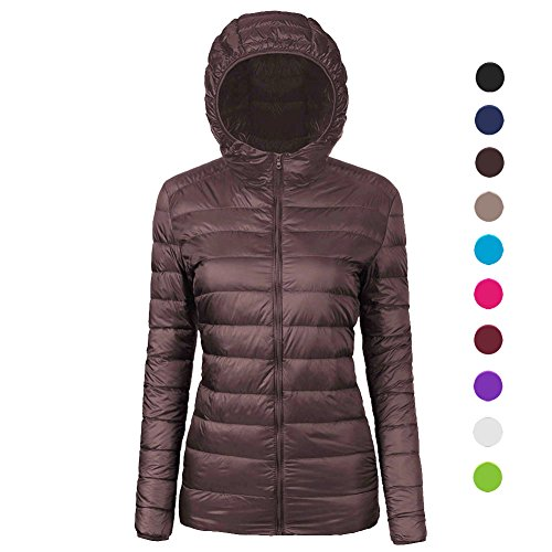 Yr02 Light (CIOR Women's Ultra-Lightweight Hooded Collar Packable Down Jacket Coat with Travel Bag,YR02,Coffee,XXS)