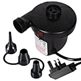 Electric Air Pump inflator/deflator for airbeds paddling pools & toys, ELOKI Electric Camping Pump 3 Nozzle Adapters Universal valves, 3 pin UK plug, AC240V/130W
