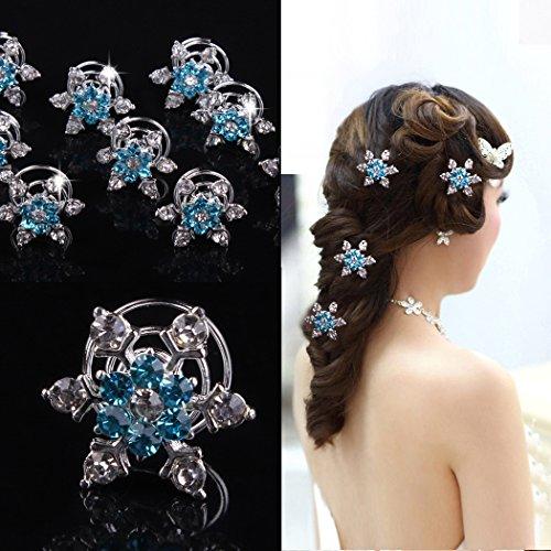Jovono Womens 4pcs Wedding Bridal Spiral Hair Clips with Snow flake Rhinestone (Blue)