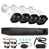 SamHity 4CH 1080N DVR Security Camera System and (4) 720P Weatherproof CCTV Cameras, Super Day/ Night Vision, QR Code Quick Remote View [No Hard Drive] … (white)