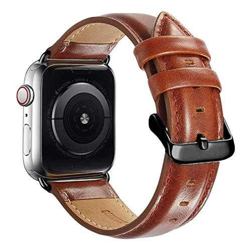 Compatible Apple Watch Band 44mm 42mm, MAPUCE Classic Style Genuine Leather Iwatch Bands with...