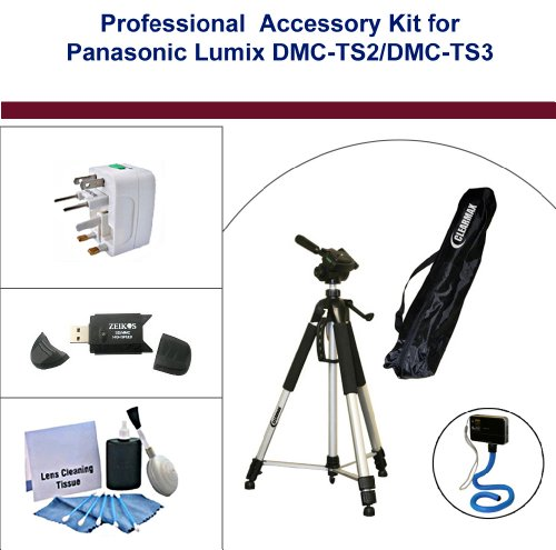 Professional Accessory Kit for Tripod; Panasonic Lumix DMC-TS2/ DMC-TS3 Digital Cameras. Flexible Monopad, Universal Adapter, USB 2.0 High-Speed Flash Card, and 5PC Lens Cleaning Kit included.