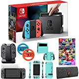 Nintendo Switch Console with Red+Blue Joy Con + Mario Kart 8 Deluxe & Accessories Bundle