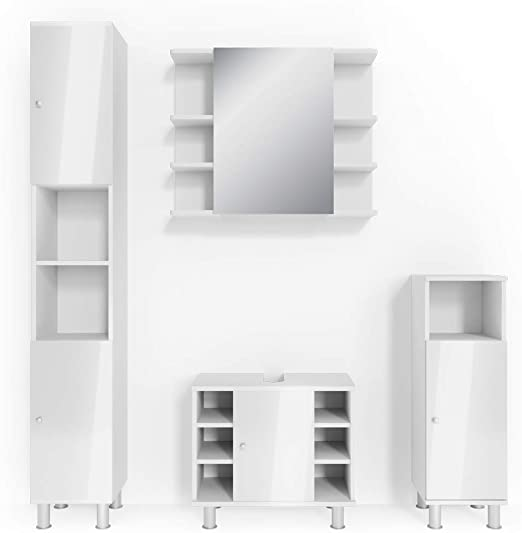 Vicco Badmöbel Set Badezimmermöbel Fynn Spiegel + Unterschrank +  Midischrank + Hochschrank (Set 4, Weiß Hochglanz)