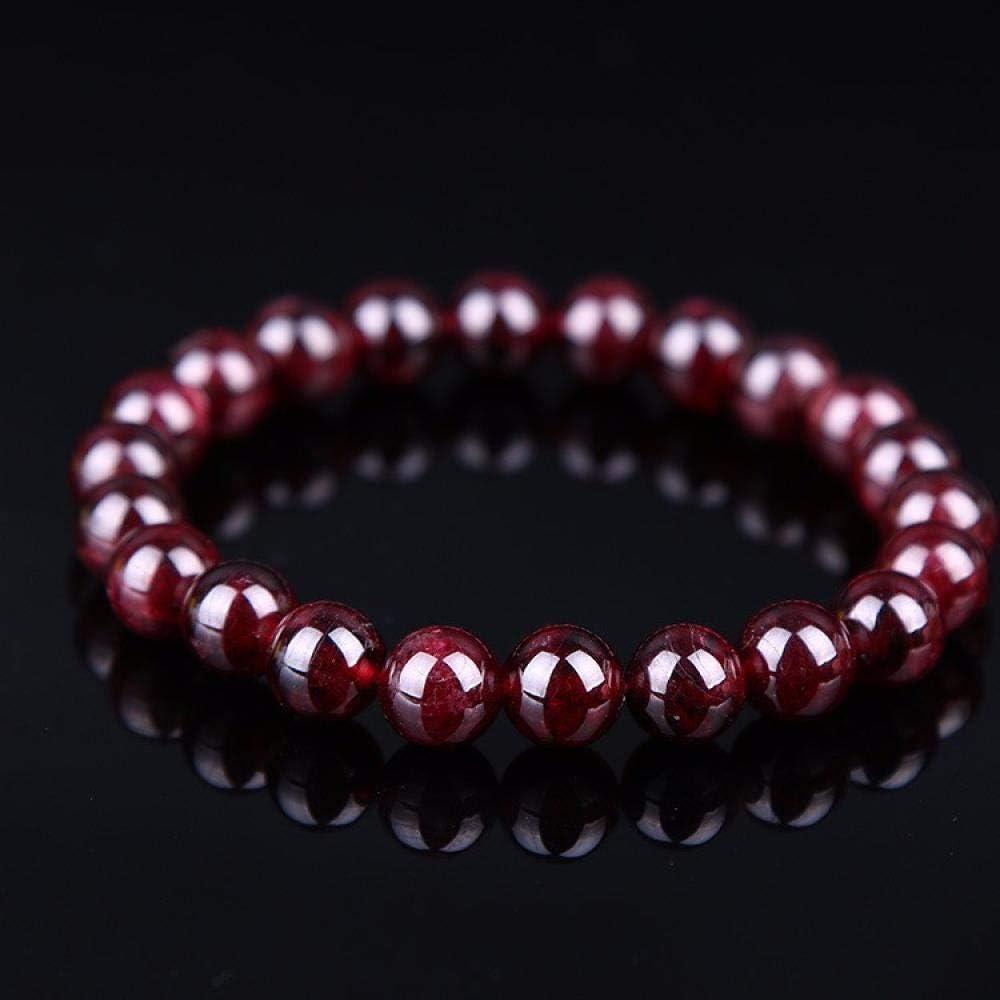 SDBUA Pulsera De Piedra Natural,Granate Natural Pulsera Hombre Pulseras para Mujeres, 8Mm Rojo Vino Bead Charm Bracelet Hombres Joyas Estudiantes