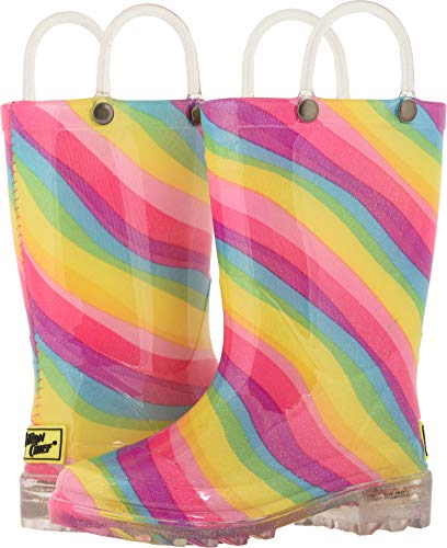 Western Chief Kids Girls' Waterproof Rain Boots That Light up with Each Step, Rainbow, 13 M US Little Kid