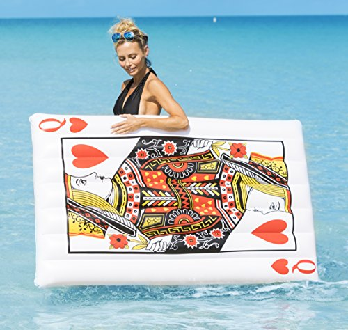 Coconut Float Pool Floats; Queen of Hearts, 5 Ft. Playing Card Pool Raft