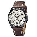 Torgoen T25 Cream GMT Pilot Watch | Night Pro 44mm - Brown Leather...