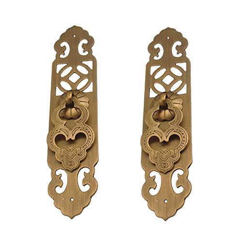 RZDEAL 2Pcs Single Hole Brass Handle with Plate Antique Embossing Pull Furniture Cabinet Knob Closet Drawer Box Door Handle (Antique Bronze)