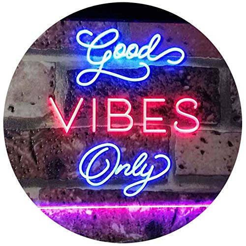 AdvpPro 2C Good Vibes Only Home Bar Disco Room Display Dual Color LED Neon Sign Blue & Red 16