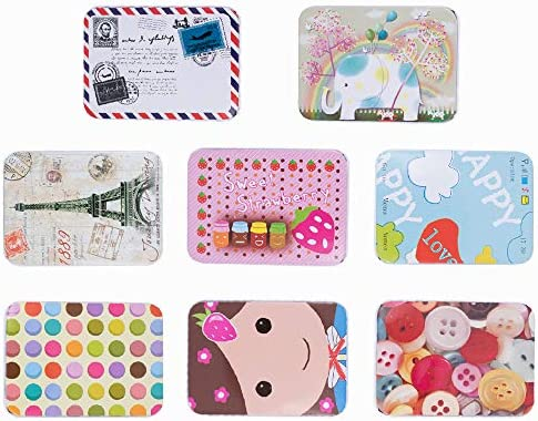 Colorful Metal Tin Box 3.5 by 2.5 by 1 inch Rectangular Storage Containers Multiple Patterns Portable Case with Lid for Jewelry Coin Tea Candy Pill Home Kitchen Office Item Storage (8pcs)