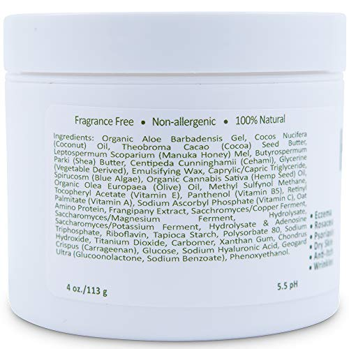 Hydrating Manuka Honey Face and Body Moisturizing Cream - Facial Firming Skin Care - Dark Circles and Puffy Eyes - Skin Tightening - Dry Skin Lotion, Cracked Hands - Organic Aloe and Coconut Oil (4oz)