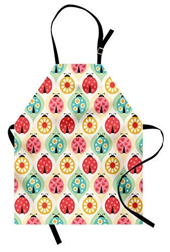 Lunarable Ladybugs Apron, Ladybugs Cartoon Geometric Pattern Childhood Nursery Kids Baby Art Print, Unisex Kitchen Bib Apron with Adjustable Neck for Cooking Baking Gardening, Coral -