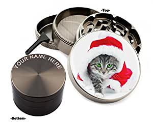 Cat Design Large Size Zinc Grinder With Your Name FREE-Gift Pack # ZG112315-36