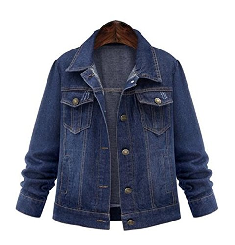 WHENOW Women's Casual Trucker Jacket Plus Size Denim Jacket Coat Blue1 2XL
