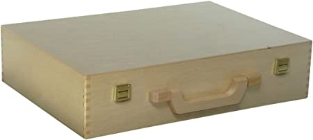 Estuche de madera con mango de madera para manualidades, maletín, maletín 380 x 270 x 90 mm: Amazon.es: Hogar