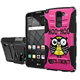 LG G Stylus [2 PLUS] Armor Case [SlickCandy] [Black/Black] Heavy Duty Defender [Holster] [Kick Stand] Phone Case - [Hoo is There Owl] for LG [G Stylo 2 Plus] [G Stylus 2 Plus]