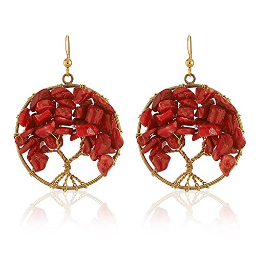 Handmade Gold-Plated Eternal Tree of Life Red Coral Bead Branch Dangle Earrings, 55mm