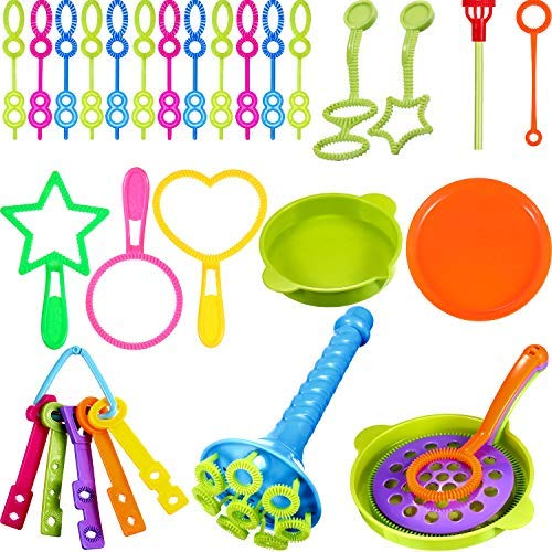 BBTO 39 Pieces Colorful Multihole Bubble Toys Bubble Making Wand with Dipping Dish for Kids]()