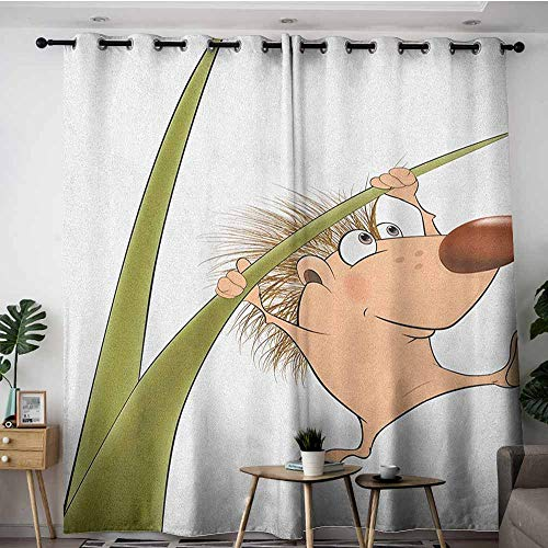 Indoor/Outdoor Curtains,Hedgehog Naked Cute Small Animal Cartoon Soft Color Scheme Wildlife Nature Humor Image,Insulated with Grommet Curtains for Bedroom,W84x96L Tan Brown Green