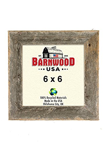 BarnwoodUSA Rustic Farmhouse 1 1/2-Inch Picture Frame - Our 6x6 Picture Frame is Crafted from 100% Recycled and Reclaimed Wood | Weathered Gray -