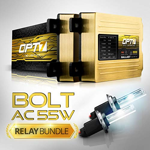 OPT7 Bolt AC 55w Hi-Power H7 HID Kit - Relay Bundle - All Bulb Sizes and Colors - 2 Yr Warranty [5000K Bright White Xenon Light]