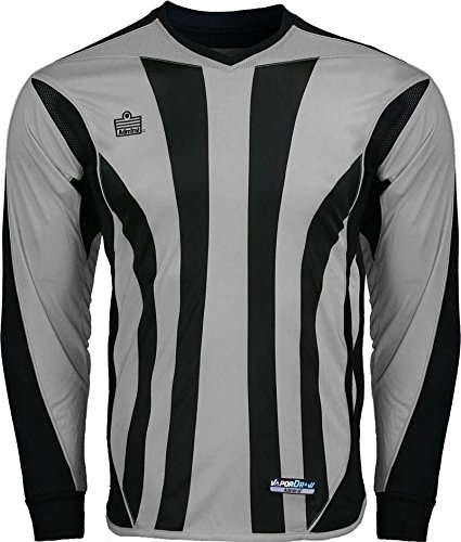 (Admiral Bayern Padded Soccer Goalie Goal Shirt Silver / Black ADULT, Sizes S-XL)