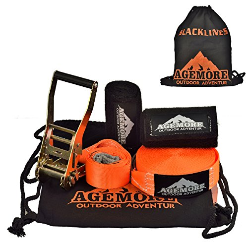 Agemore Slackline 50-Feet Classic Trick Line COMPLETE KIT with Trampoline-Style webbing for Extra Bounce INCLUDES Tree Protection and Carrying Bag – DiZiSports Store