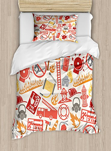 Twin Size Duvet Cover Set, Firefighting Themed Icons Pattern Emergency Exit Alarm Flames Matches Gas Mask, Decorative 2 Piece Bedding Set with 1 Pillow Sham, Multicolor ()