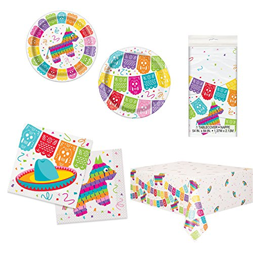 Unique Mexican Fiesta Party Bundle | Luncheon & Beverage Napkins, Dinner & Dessert Plates, Table Cover | Great for Festive/Carnival Birthday Themed Parties -
