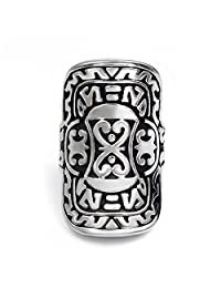 Elfasio Men's Stainless Steel Ring Silver Warrior Shield Fashion Jewelry US Size 7 -13