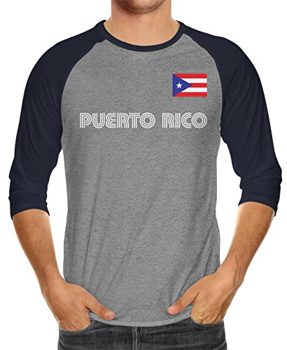 SpiritForged Apparel Puerto Rico Soccer Jersey Unisex 3/4 Raglan Shirt, Navy/Heather XL