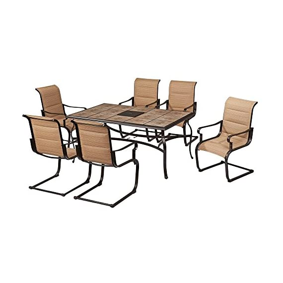 Belleville 7-Piece Padded Sling Outdoor Dining Set - Includes 39.5 in. x 64 in. table and 6 padded sling motion chairs Bronze powder-coated frames & sling fabric are weather-resistant Heavy-duty ceramic tile tabletop is durable and easy to clean - patio-furniture, dining-sets-patio-funiture, patio - 51snM8DZfjL. SS570  -