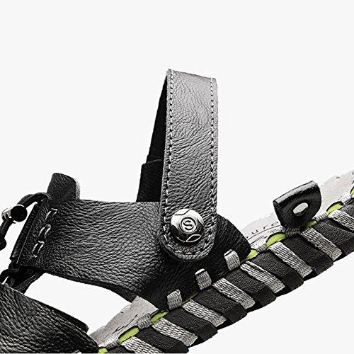 Sommer Mann Pantoffel Sandale Strand Schuhe Leder Open-Toe entworfen weiche echte Leder Schuhe rutschfeste Fischer Schuhe Vintage (38-44 Größe) (Farbe : Braun, größe : 41) Schwarz 81be3e