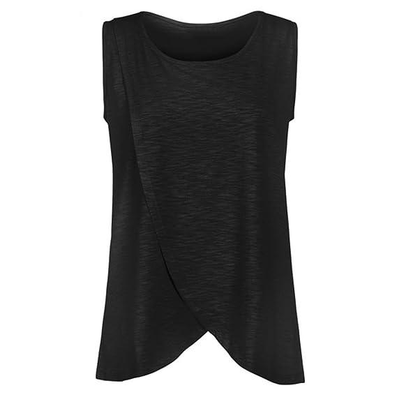 QinMM Camiseta de Mujer Maternidad de Doble Capa, premamá Lactancia Blusa sin Manga Camisas: Amazon.es: Ropa y accesorios