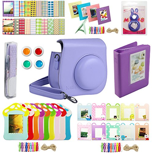 Katia Instant Camera Accessories Bundles Set for Fujifilm Instax Mini 8/8+ with Camera Case Purple/ Photo Albums/ Selfie Len/ Wall Hang Frame/ Border Stickers/ Filters/ Camera Strap (Purple) (Polaroid Instax 8 Purple)
