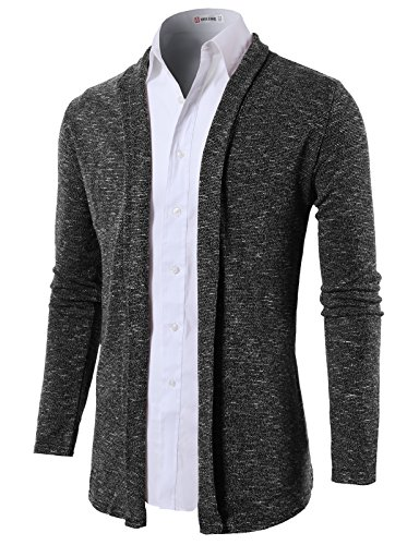 H2H Mens Lightweight Shawl Collar Cardigan without Buttons CHARCOAL US L/Asia XL (KMOCAL099)