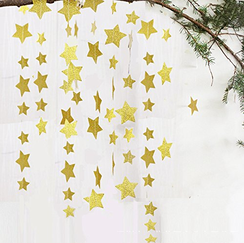 Lacheln Star Party Decorations Birthday Baby Shower Christmas Hanging Paper Garland,Glitter Golden, 2 Sets, 26 Feet Total