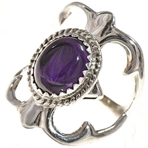 (Ladies Amethyst Silver Navajo Ring Old Pawn Sandcast)
