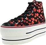 Maxstar Skull Patterned High-top Double Platform Sneakers Shoes Red 8 B(M) US Womens