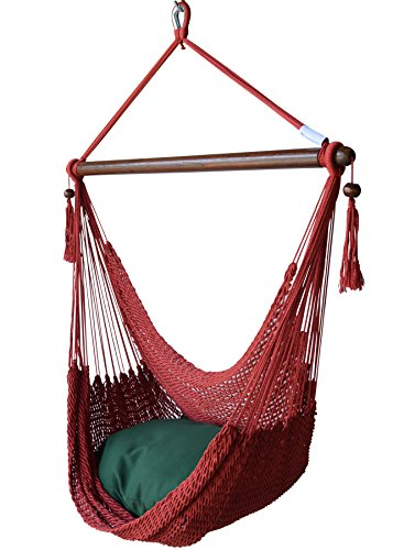 Cheap Caribbean Hammocks Chair with Footrest – 40 inch – Soft-Spun Polyester – (Red)